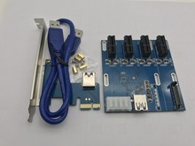 NEW blue PCIe 1 to 4 PCI express 1X slots Riser Card Mini ITX to external 4 PCI-e slot adapter PCIe Port Multiplier Card