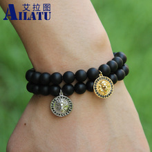 Ailatu Mens Energy Jewelry Micro Pave CZ Lion Head Charm Bracelets with 8mm  Black Matte Stone Beads