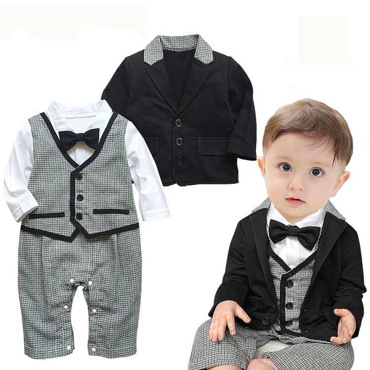 2017 New Baby Rompers Toddlers Baby Boy 2 pcs Set  Gentleman Ties Rompers +Jackets Wedding Party  Boys Clothes Vestido Infantil<br><br>Aliexpress