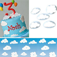 5PC Cloud Plastic Fondant Cookie Cutter Cake Mold Moulds Cake Decorating Tool TP