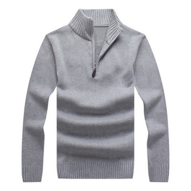 NIBESSER Men Sweater Brand Fashion Pullover Sweater with Zipper Male Solid Colour Slim Fit Knitting Sweaters Man Pullover Men