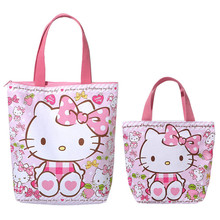 Cute Hello Kitty Cat Cartoon Pink Shoulder Bag Handbag Tote Lunch Bags for Girls Women Girls School Book Shopping Bag Zipper(China)