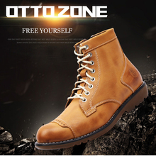 OTTO men Martin Boots Handmade Genuine Leather High Top Ankle Tooling Fur Boots With Zipper Classic Outdoor Men Shoes