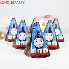 Cartoon Thomas Paper Hats Caps with strings Kids birthday party Supply Favor Cartoon character 6 pcs/lot party decoration