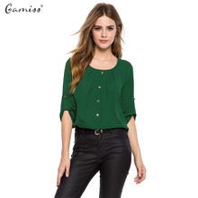 Gamiss 2016 Fashion Women Chiffon Shirt Chic Round Collar Three Quarter Sleeve Single Breast Button Design Lady Blouse blusas(China)