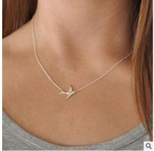 2017 A simple gold and Silver chain necklace clavicle Charm Bird Jewelry fashion female necklace fashion jewelry accessories(China)