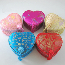 Heart Tassel Lace Silk Brocade Gift Boxes for Jewelry Storage Decorative Trinket Cardboard Packaging Case(China)