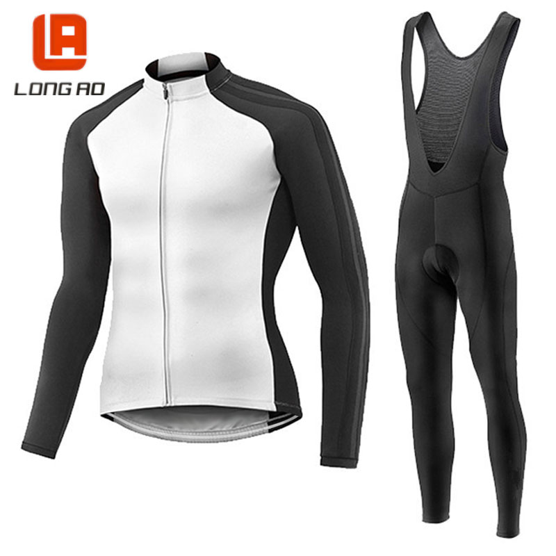 LONGAO 100% poryester Mens Cycling Jersey Long Sleeve Outdoor Sports Bicycle Cycle Clothing Quick Dry Riding Clothes<br>