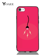 Charging Plug Fun Pink Cartoon Illustration For iPhone 6 6s 7 Plus Case TPU Phone Cases Cover Mobile Protection Decor Gift