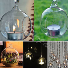 Crystal Fish Ball Hanging Glass Candle Holder Candlestick Romantic Wedding Restaurant Dinner Coffe Room Decor