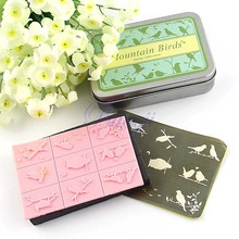 DIY Rubber Stamp Set in Tin case 9 pcs Mountain Birds Kids Children Drawing HG121