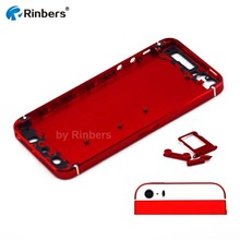 Champagne Gold/Silver/Red/Dark Blue Middle Frame Bezel Back Cover Housing Rear Case Replacement with Logo&Writings for iPhone 5