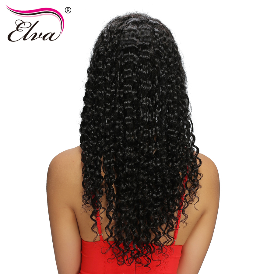 Elva Hair Brazilian Full Lace Human Hair Wigs With Baby Hair Water Wave Remy Hair Lace Wigs For Black Women Natural Black Color