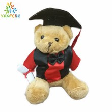 1 pcs 15cm plush graduation teddy bear keychain, stuffed graduation teddy bear, 2 colors available to choose