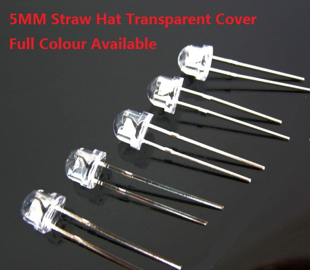 50pcs 8MM Water Clear Green Light Straw Hat LED Diodes Wide Angle DIP Bulb