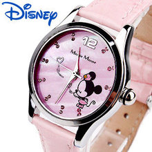 Disney Minnie Mouse Watches Leather Quartz Clocks Girls Diamond Casual Waterproof Original Wristwatc
