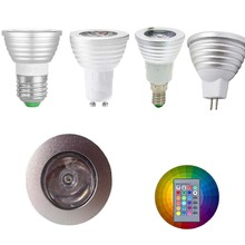 10pcs E27 E14 GU10 MR16 Dimmable 3W led RGB Spotlight Magic LED Bulb Lighting Mood Ambiance Lighting for Home Decoration bar(China)
