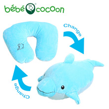 Bebecocoon Kawaii Dolphin/Dog/Tiger Convertible U-shaped Neck Pillow Animal Stuffed Plush Toy Decorative Cushion(China)