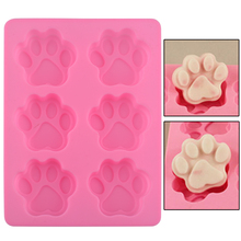 Lovely Ice Cube Cake Soap Cookies Chocolate Kitchen Accessoriess Sweet Multifunction Dog Paw Silicone Mold molde de silicona(China)