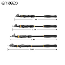 Enkeeo 1.8m-3m Fishing Rod Carbon Fiber Telescopic Fishing Pole for Freshwater Inshore Offshore Saltwater Travel Outdoor(China)