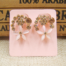100pcs 4x4cm Pink pearl Paper Ear Studs Card Jewelry Display Packaging Card square Shape earrgin custom Price Label Jewelry Tag