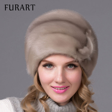 Russian winter fur hat for women real mink fur hat with diamond fashion hot sale women fur cap good quality ear protector DHY-66