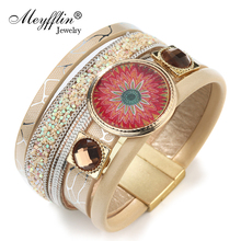 Pulseras 2017 Fashion PU Leather Wrap Bracelet Femme Magnetic Bracelets & Bangles for Women Men Jewelry Charm Pulseira masculina(China)