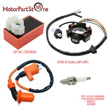 Magneto Stator Racing Ignition Coil 6 Pins AC CDI Box Spark Plug for Chinese GY6 49cc 50cc Engine Moped Scooter