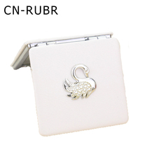 CN-RUBR Swan Women Fashion Mini Mirror Makeup Portable Pocket Cosmetic Mirrors with Double Size Square Mirror Beauty Accessories