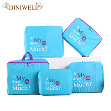 DINIWELL 5Pcs Nylon Mesh Zipper Portable Travel Luggage Storage Bag Clothes Organizer Suitcase Handbag Pouch Divider Container
