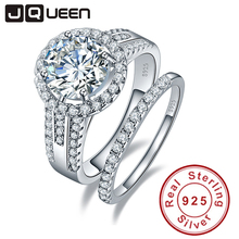 JQueen 3.45ct 925 Sterling Silver ring set vintage ring Round White Topaz  jewelry Wedding Rings For Women s925 silver