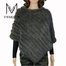 Natural rabbit fur poncho winter 2015 women new fashion knit genuine cloak fur shawl, wholesale and retail with free shipping(China)
