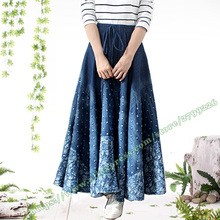 2017 New Fashion Casual Hole Floral Worn Big Hem Jeans Denim Long Maxi Skirt for Womens