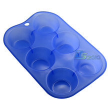 6 Cavity Silicone Soap Cookies Cupcake Bakeware Pan Tray Mould Home DIY Cake Tool Mold Home Furniture Tools