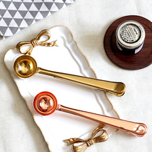 Nordic style stainless steel Brass oval Gold Rose Gold Seal Coag Coffee Spoon Two In One Milk Spoon tea spoon measuring scoop(China)