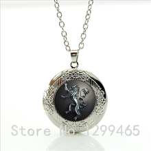 Fashion vintage movie jewelry Song Of Ice And Fire Game Of Thrones Stark Dire Wolf locket pendant necklace men jewelry WNK81(China)