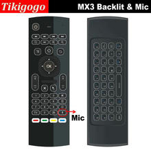 New Mini keyboard with Mic voice & Backlit MX3 backlight microphone fly air mouse keyboard with IR learning remote controller