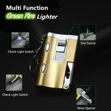 Multi Function Compact Jet Butane Lighter Gasoline Lighter Wine Opener Check Cash Light Oil Lighter Green Fire Bar Use NO GAS(China)