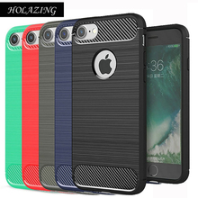 HOLAZING Glossy Rugged Full Body Armor Case for iPhone 8 Anti-Shock Absorption Luxury Carbon Fiber Design Cover(China)