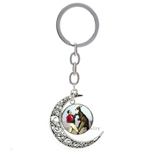 lass Round Boxing Kangaroo Vtorian Era Art Wedding party moon pendant keychain Trendy Cool casual sports key chains ring T211(China)