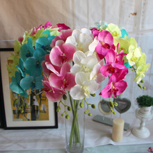 white pink shocking pink sky blue light green Silk Butterfly Orchids For Wedding Table Centerpieces Home Decor(China)