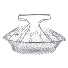 Stainless Steel  Foldable Steam Rinse Strain Chef Basket Colander Magic Basket Strainer Kitchen Accessories Cooking Tools
