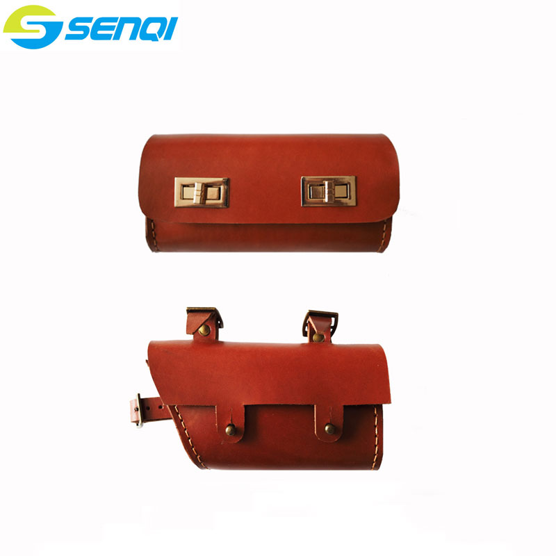 Pure Handmade Bicycle Bags Genuine Leather Bike Bag Faux Leather Cycling Bike Saddle Tail Rear Bags<br>