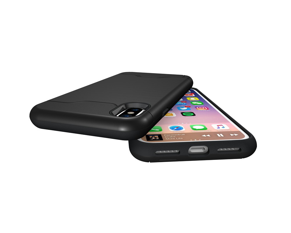 KEYSION Case For iphone X Shockproof cover for iPhone X Kickstand Armor Phone Bag Cases For iphone 10 Card Holder Coque 7