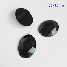 Free Shipping! 20pcs Black 30x40MM Oval Flatback Rhinestone Acrylic Diamond Triangular Facets Jewelry Garment DIY Decoration