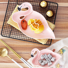 1PCS Flamingo Decoration Pink 3D Ceramic Plate Snacks Dried Fruit Plates Fruit Bowl Dessert Dishes Bone China Dinnerware(China)