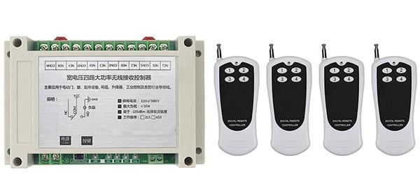 AC220V 250V 380V 30A 4CH RF Wireless Remote Control Switch System Transmitter+Receiver,315/433 MHZ /lamp/ window/Garage Doors<br>