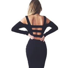 2017 Black White Sexy Solid Long Sleeve Bandage Party Dress Hollow Out Off The Shoulder Backless Midi Bodycon Women Dresses(China)