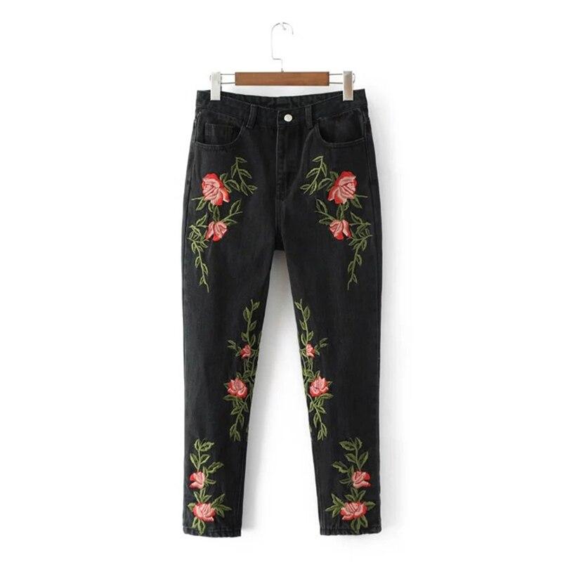 Kings&amp;pauper Brand 2017 Fashion New High Quality Black Embroidered Jeans for Women with Embroidery Rose Denim Cotton Femal PantsÎäåæäà è àêñåññóàðû<br><br>