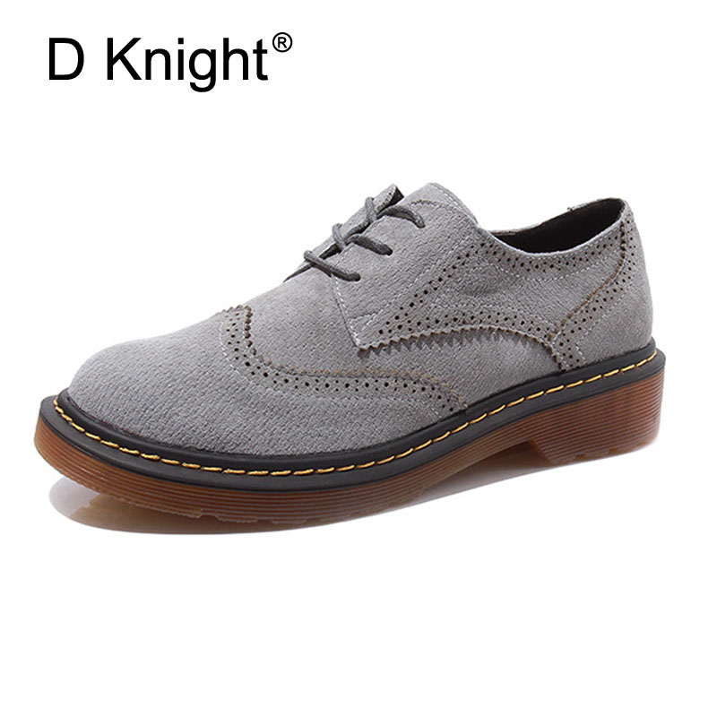 New Women Genuine Leather Oxfords Ladies Casual Flat Oxford Shoes Vintage Cow Leather Carved Brogue Oxfords For Women Size 34-43<br>